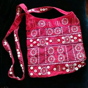 GAP embroidered, beaded bag-sz 10 1/2 x 10 1/2 in.